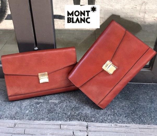 Ví cầm tay da bò Montblanc VOC03 (Nâu Đỏ)