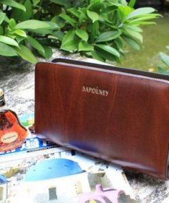 Ví cầm tay màu nâu vân gỗ VOC12 ( 2 ngăn khóa )