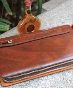 Ví cầm tay nam da bò vân gỗ VOC14 ( 2 ngăn khóa )
