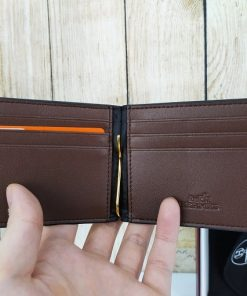 Bóp da kẹp tiền màu đỏ đô VDD67