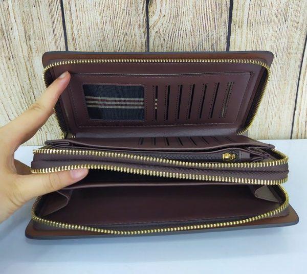 Clutch cầm tay Balidiya 2 ngăn, màu nâu sang trọng VOC62