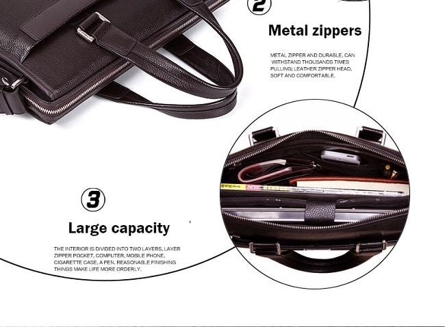 Giỏ xách nam màu đen và nâu -Cặp Laptop BinShi 618