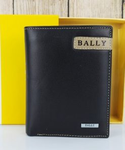 Ví da Bally dáng đứng màu đen VDD56